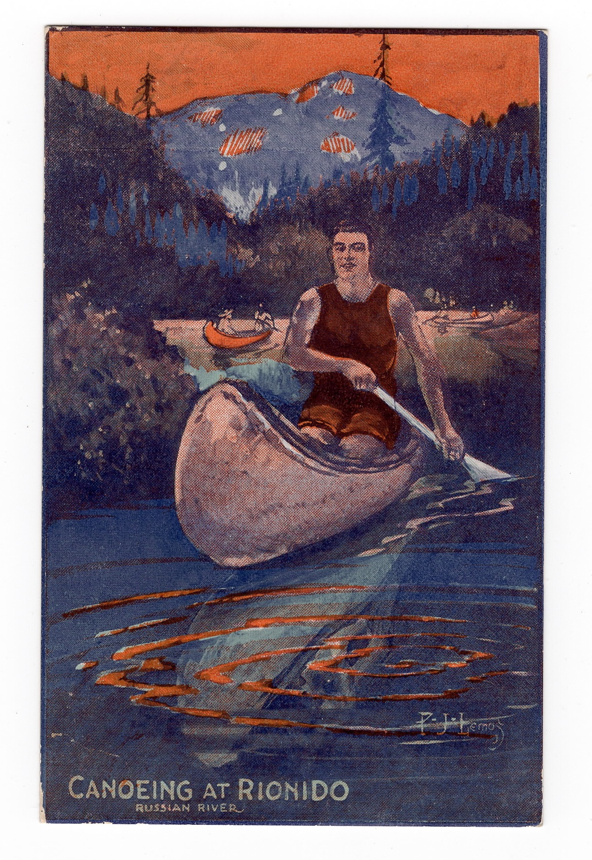 Canoeing at Rionido postcard